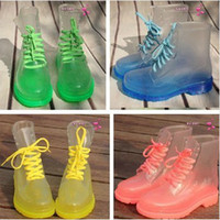 Wholesale Drop Shipping PVC Transparent Womens Colorful Crystal Clear Flats Heels Water Shoes Female Rainboot Martin Rain Boots