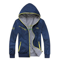 Wholesale New Li Ning sports hooded jacket men casual sportswear reversible jacket Li Ning fashion badminton jackets