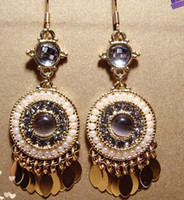 Wholesale attractive Pearl color golden tassels women s earrings b amp w