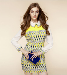 2013 autumn new Europe style color geometric mosaic lapel long-sleeve Slim Princess Dress