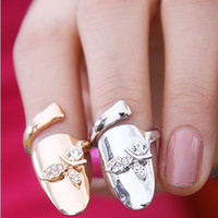 Wholesale 2013 punk leafs finger nail ring women fake nail art ring fashion jewelry