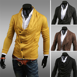 Wholesale 2013 Autumn New Arrival Men Sweaters Irregular Turn down Collar Slim Fit Knitted Cardigans Colors Size US XS S M L Y14wy30