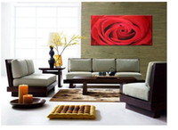 Cheap Red Rose Modern Hand-Painted Floral oil painting E997 100% pure hand-painted