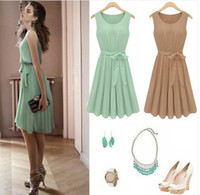 Casual Dresses Round Knee Length H340 New Womens light green sleeveless Pleated cocktail party dress size: S M L XL XXL XXXL
