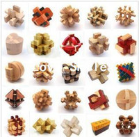 Wholesale 24Styles Adult educational toys Wooden Puzzle toy Kongming lock Luban lock