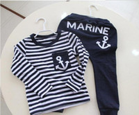 Boy Spring / Autumn 100% Cotton Wholesale - Baby Boys suit kids children 2pc set long sleeve Anchor T-shirts + pants boys clothes suits set