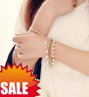 Wholesale 2013 Women Charm Jewelry multilayer Bracelets Flower Pearls Four Leaf Clover Beaded leather Strands Cuff Link Chain Wedding Bracelet