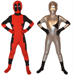 Wholesale Children Deadpool Zentai Suit Superhero Costume Cosplay Fancy Dress Kid Bodysuit