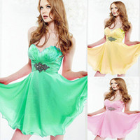 Wholesale A Line Sweeetheart Daffodil Jade Pink Corset Sash Chic Short Homecoming Dresses Under Cocktail Dresses Chiffon
