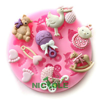 Silicone Rubber baby foot mold - silicone mold fondant cake tools silicone resin clays molds diy baby bear bird candy foot wooden horse baby stroller F0484