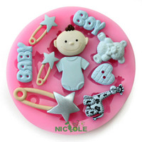 Wholesale silicone mold fondant cake silicone moulds cake tools silicone resin clays molds diy baby bear boy star giraffe heart F0485