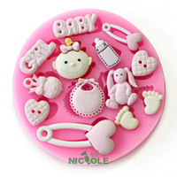 Modelling Tools baby feet candy - new fondant cake silicone moulds cake tools silicone resin clays molds diy baby rabbit girl foot heart candy feeder baby bib F0486