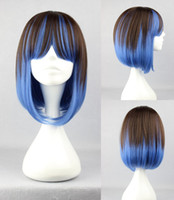 Wholesale Fashion Harajuku New BoB Style cm Short straight Lolita Multicolor Brown Blue Layered Hair cosplay Anime Wig Hallowmas Charm Wigs A