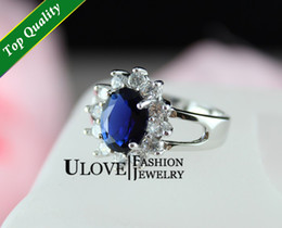 Wholesale UK Queen Model Titanic Ocean Heart Silver Ring Swarovuski Sapphire Blue Crystal g US size Classic Jewelry