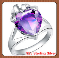 Engagement Fashion Rings CZ Amethyst Crystal Stones 12*12mm Opal Heart Crown 14*19mm 5.24g 925 Sterling Silver Wedding Engagement Ring for Women