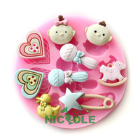 Wholesale 2013 new fondant cake silicone moulds cake tools silicone resin clays molds diy baby girl boy heart duck star candy wooden horse F0489