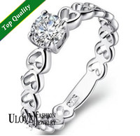 Wholesale New Arrival Piece Sterling Silver Ring Heart amp Zircon CZ Crystal Rhinestone of Heart Ring Size Wide mm