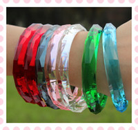 Wholesale Mom Gift Crystal Imitated Resin Sparkling Clear Bangle Bracelet Jelly Glow Colors Clear Shining Min