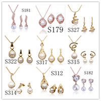 Wholesale Mixed orders plated K gold pearl necklace amp earring fashion Jewelry Sets wedding gift for women set