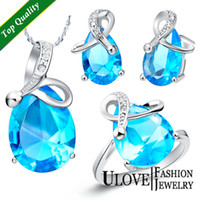Wholesale AliexpressSilver Jewelry Sets Wedding Zirconia Crystal Costume Jewellry k Platinum Blue Purple Water drop Stone