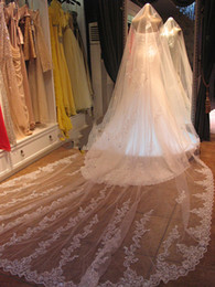 Wholesale Junoesque Stunning Applique Sequins White Ivory Wedding Veil Tier Cathedral Bridal Veils M