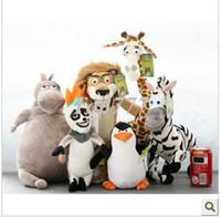 Wholesale New Genuine Madagascar giraffe hippo lion zebra lemurs plush penguin toy doll for children s gift a set kinds animal cm