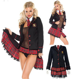 Wholesale Women Sexy Medieval Costumes for Women Fancy Renaissance School Girl Sexual Dressing up Fantasy Tartan Halloween Cosplay costumes Uniforms