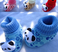 Wholesale 10 Pairs Baby infant winter Soft Sole Walking Shoes prewalker First Walker Shoes socks cotton cartoon Panda month