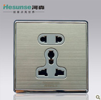 Wholesale X6 Heseunse Holes Brushed Metal Panel wall Socket Wall Outlet Power Outlet