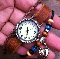 Wholesale Real Leather Antic Brass Wrist Watch with Heart and Lock Charms and Wood beads