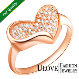 Wholesale 925 Sterling Silver Heart Love Ring Rose Gold Micro Pave Zircon Crystal Jewelry Anel Micro Pave Cristais De Zircao Joias Anillo