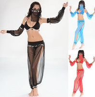 Wholesale Sexy Arab girls Belly Dance wear dresses costumes Discount Halloween Fantasy Women Indian blue black Black Clubwear Bra Pants Faceclothes