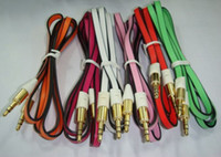 For Apple iPhone   2 color Noodle 1m 3.5mm Male to 3.5mm Male Stereo Aux Audio Cable for mobile phone speakers CD players