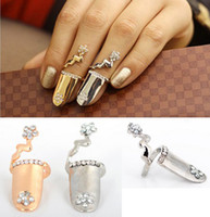 Wholesale 2013 NEW Fashion Punk Nails Ring Crystal Flower Finger Tip Gold Knuckled Nails Rings Unisex Rings JR18009