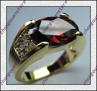 Wholesale Jewelry Brand New ruby men s KT yellow Gold plated Ring zircon ring sz8 gift free