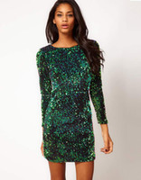 Round metallic mini dress - Free Ship Hot Sale Genuine Motel Gabby Iridescent Sequin Dress Green BLING BLING Metallic Paillette Plunge Back Sexy Club Wear