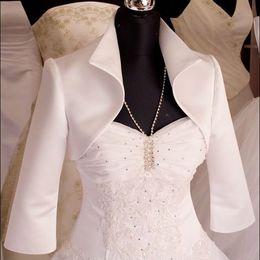 Custom Made new style 3 4 sleeve satin wedding jacket bridal wraps Jackets with neck free shipping dh5163