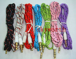 Wholesale 3 mm audio Nylon cable cord Car Aux Cable for mp3 Fabric braided Shield