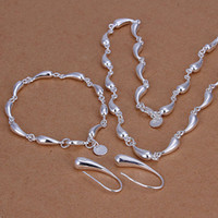 Wholesale lowest price Christmas gift Sterling Silver Fashion Necklace Earrings set QS125