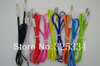 Wholesale 3 mm to mm Colorful flat type Car Aux audio Cable Extended Audio Auxiliary Cable