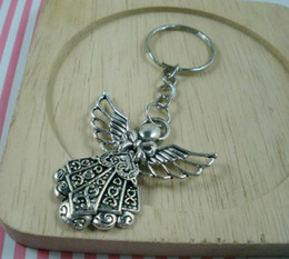 Wholesale Sales DIY Accessories Material Tibetan Silver Zinc Alloy Angel Band Chain key Ring