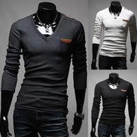 Wholesale 3093 HOT NEW Men s Slim Fashion Button badges personalized veneer unilateral Long Sleeve T shirts shirt Size M L XL XXL