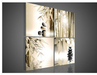 Wholesale 4 Piece Wall Art Botanical Feng Shui Brown Picture Oil Painting On Canvas No Frames Decorative Interior Paneling Prints