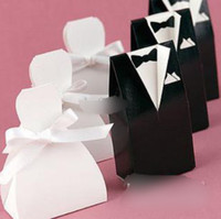 Wholesale 100pcs pairs Fashion White Wedding Gown and Black Suit Candy Boxes Wedding Favors Favor holders