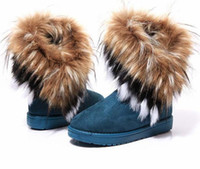 Wholesale Hot sale Fashion Rabbit hair and Fox Fur In tube Color matching warm snow winter boots for women amp ladies FJE8473