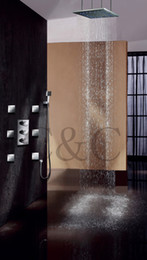 20 Inch LED Thermostatic Controled Shower Head And Massage Spray Jets Thermostatic Rain Shower Set 007-20