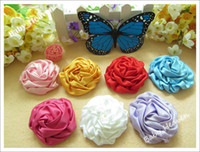 ribbon rose - 16pcs Color inch Baby Ribbon Rose Hair Flower No Hairclip Hair Bows for Baby Headband DIY Hair Accessories