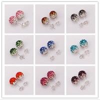 Wholesale Mixed Order Silver MM Crystal Disco Ball Shamballa stud earrings fashion jewelry for women pair