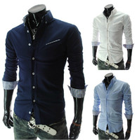 Casual mens clothing - 2013 NEW Oblique pocket men s clothes Casual Slim Men s shirts fashion long sleeve Mens shirts navy