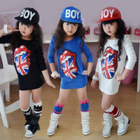 Wholesale up Mix order EMS FEDEX to AU US UK FR NL CA girls dress Big tongue cartoon sequins embroidery children kids long Dress SEPT227